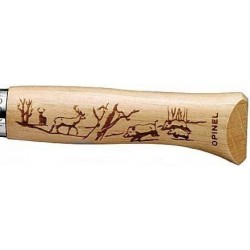 Couteau Opinel N°8 Gravure Sanglier/ Cerf Inox