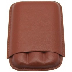 Etui en Cuir Marron 3 Cigares