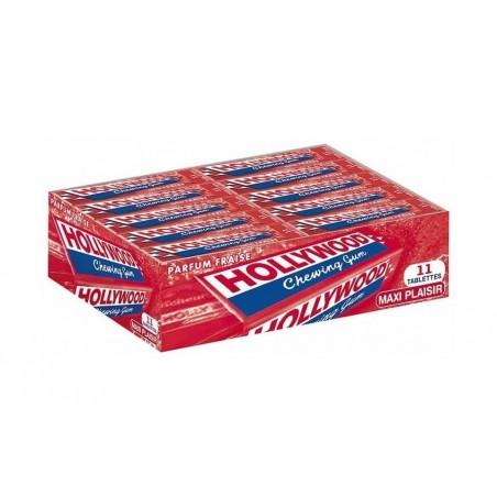 Hollywood Fraise 20 étuis de 11 Chewing Gum en Tablette