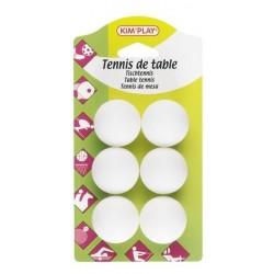 6 balles de ping pong