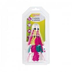 3 volants badminton en plume