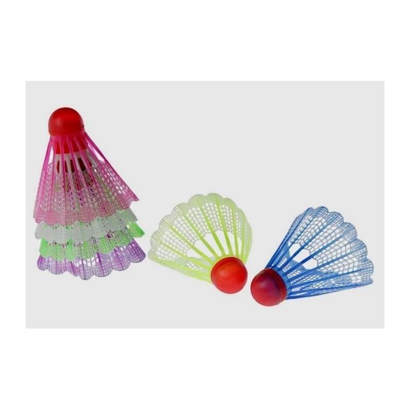 6 volants badminton en plastique