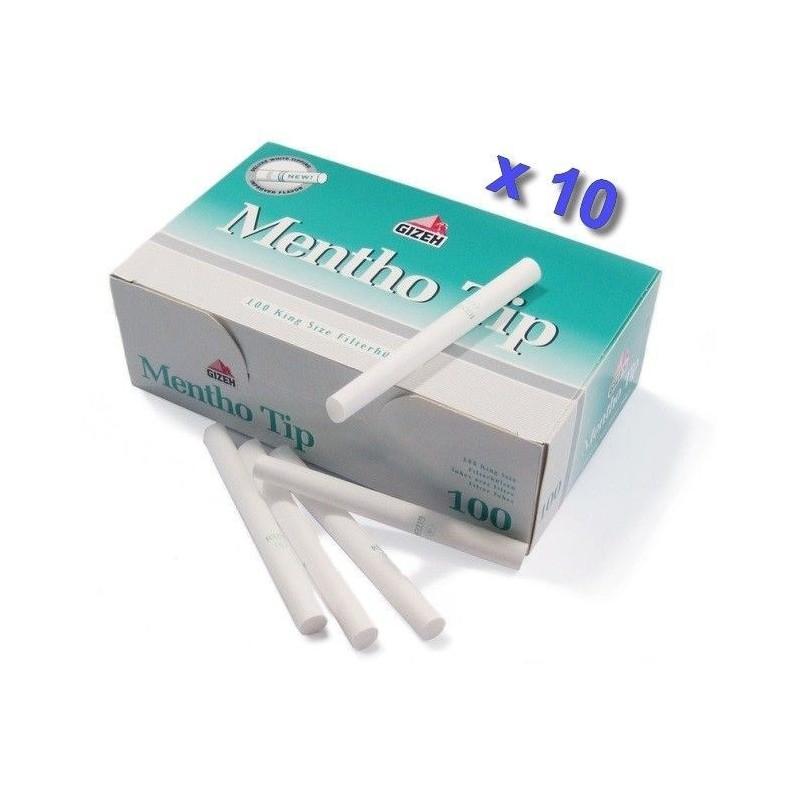 Boite de 100 tubes à cigarette Gizeh Silver Tip Menthol avec filtres x 10