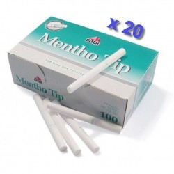 Boite de 100 tubes à cigarette Gizeh Silver Tip Menthol avec filtres x 20