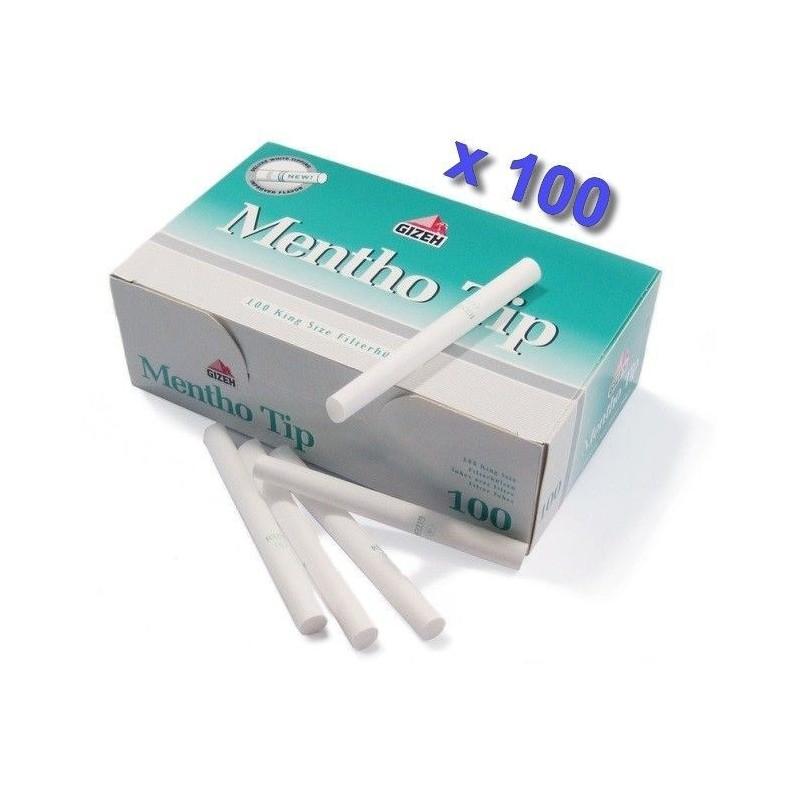 Boite de 100 tubes à cigarette Gizeh Silver Tip Menthol avec filtres x 100
