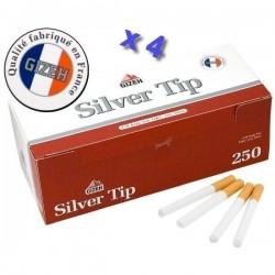 Boite de 250 tubes à cigarette Gizeh Silver Tip avec filtres x 4