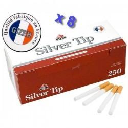 Boite de 250 tubes à cigarette Gizeh Silver Tip avec filtres x 8