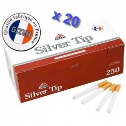 Boite de 250 tubes à cigarette Gizeh Silver Tip avec filtres x 20