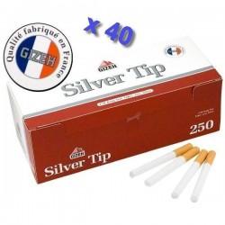 Boite de 250 tubes à cigarette Gizeh Silver Tip avec filtres x 40