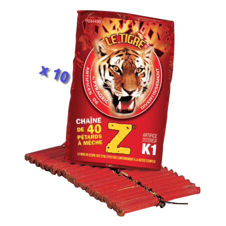 Pétard le Tigre Z Mitraillettes x 10 Paquets
