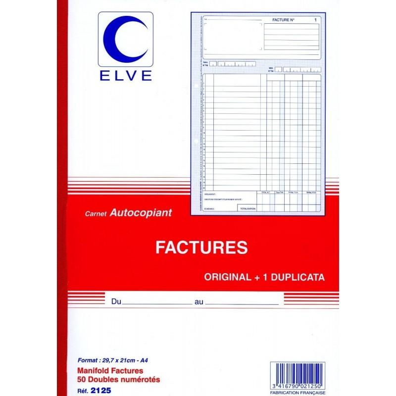 Manifold Facture NCR Autocopiant Dupli 21 x 29 cm