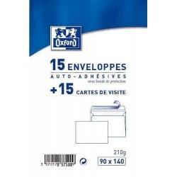 15 Enveloppes Auto-Adhésives + 15 Cartes de Visite 8 x 12 cm