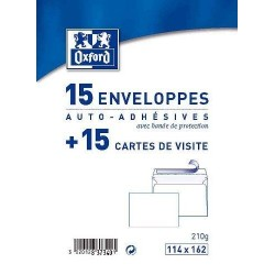 15 Enveloppes Auto-Adhésives + 15 Cartes de Visite 11 x 16 cm