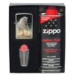Coffret Cadeau Briquet Zippo White Horse Galloping