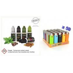 Lot de 50 E-liquides Nhoss + 15 Gratuits et 50 Mini Bic Offert