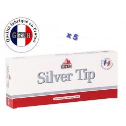 Boite de 100 tubes à cigarette Gizeh Silver Tip avec filtres x 5