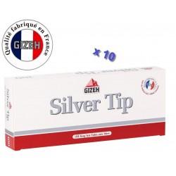Boite de 100 tubes à cigarette Gizeh Silver Tip avec filtres x 10