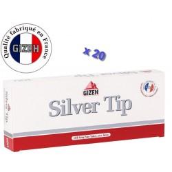Boite de 100 tubes à cigarette Gizeh Silver Tip avec filtres x 20
