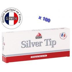 Boite de 100 tubes à cigarette Gizeh Silver Tip avec filtres x 100