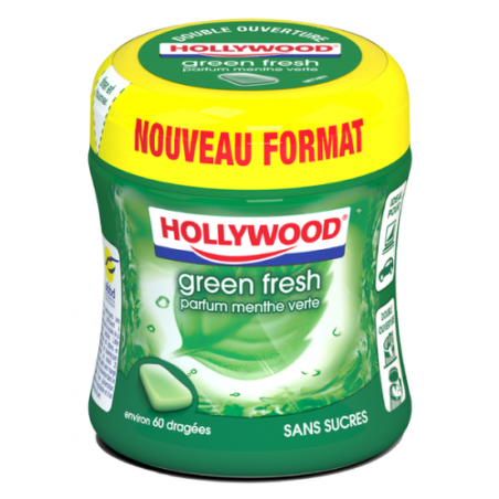 Bottle Hollywood Chewing Gum Green Fresh