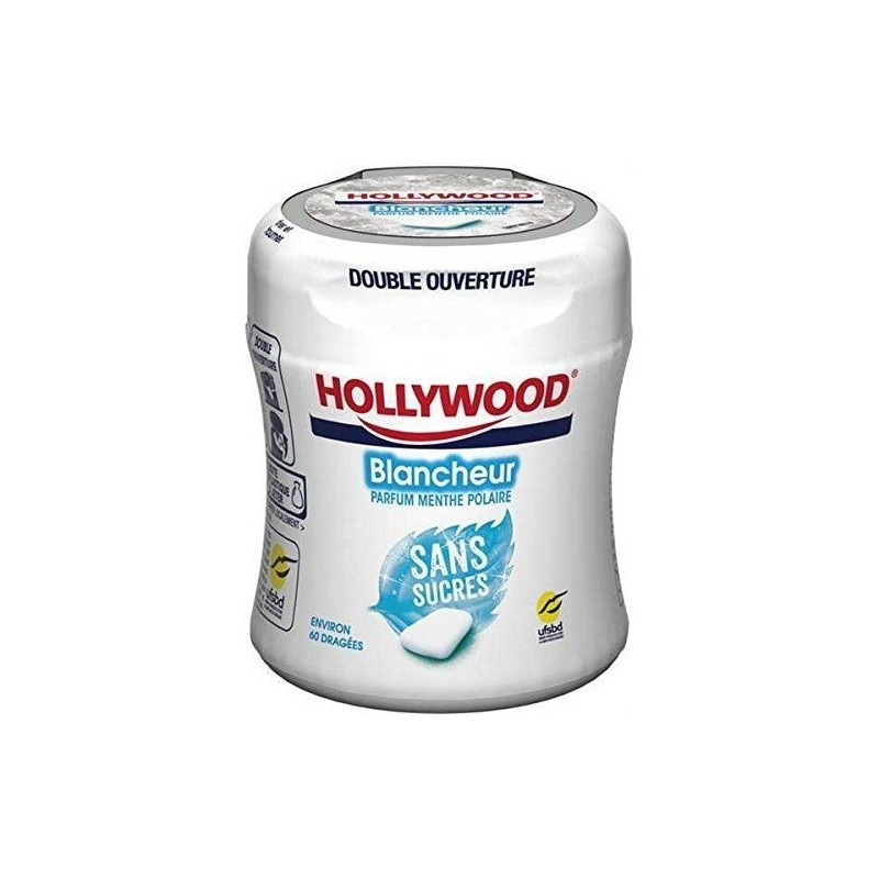 Bottle Hollywood Chewing Gum Blancheur Menthe Polaire