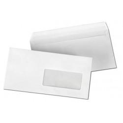 500 Enveloppes Longues Blanches à Fenêtre 11 x 22 cm