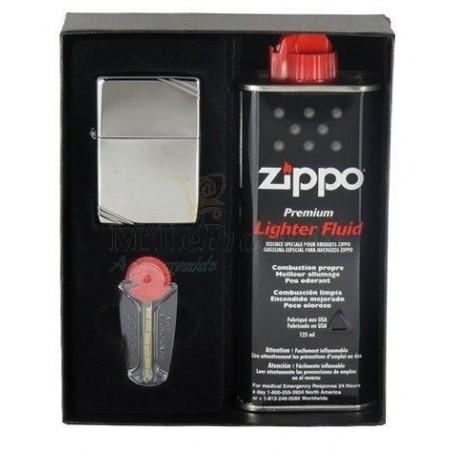 Coffret Cadeau Briquet Zippo Vintage Chromé