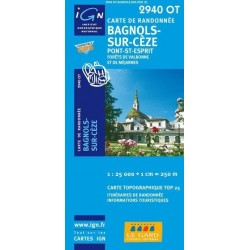Carte IGN Top 25 Bagnols Sur Cèze
