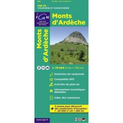 Carte IGN Top 75 Monts d'Ardèche