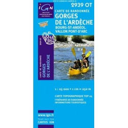 Carte IGN Top 25 Gorges de l'Ardèche
