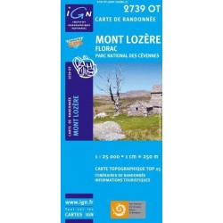 Carte IGN Top 25 Mont Lozère