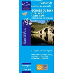 Carte IGN Top 25 Gorges du Tarn