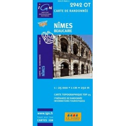 Carte IGN Top 25 Nîmes