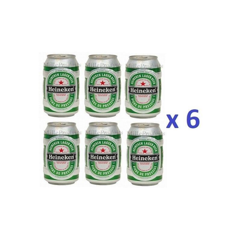 6 Canettes de Bière Heineken 33 cl