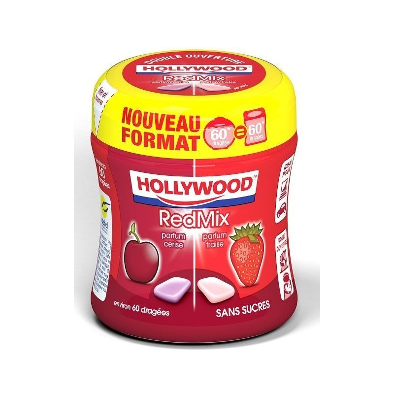 Bottle Hollywood Chewing Gum Red Mix
