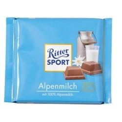Tablette de Chocolat Ritter Sport Lait des Alpes
