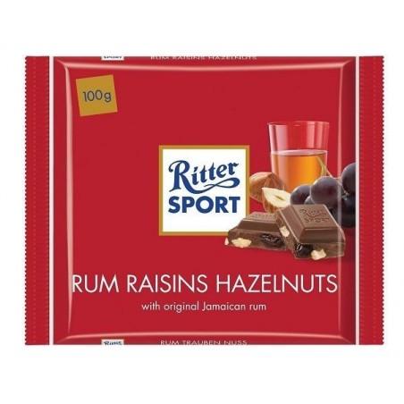 Tablette de Chocolat Ritter Sport Rhum Raisins Noisettes