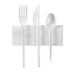 Kit 4 Couverts Plastiques Blanc