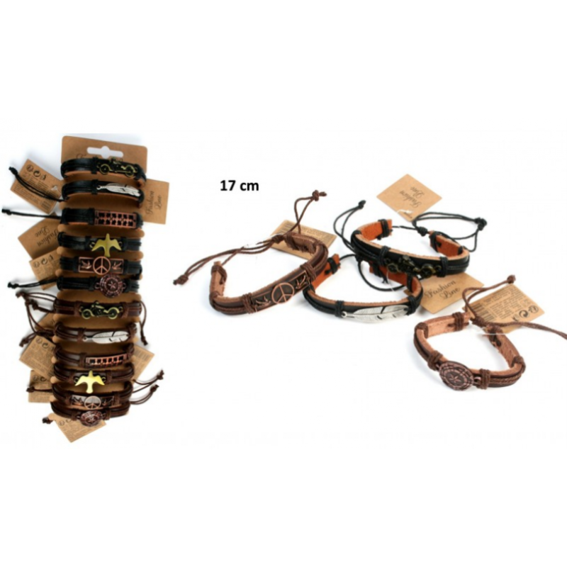 Bracelet Mode Cuir Métal