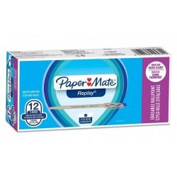Stylo Bille Effaçable Bleu Paper Mate Replay
