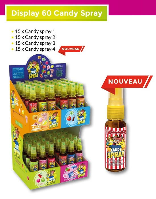 lot de bonbon candy spray. bonbon-à-vaporiser-candy-spray